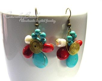 Hippie Boho Earrings, Stone Brass and Fresh water pearl Earrings