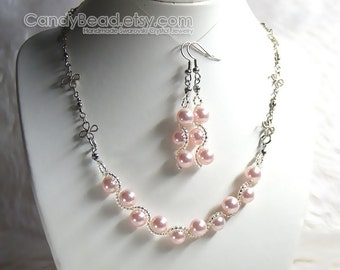 Swarovski Crystal Necklace And Earrings, Sweet Pink Swarovski Glass Pearl Set By CandyBead