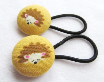 Ponytail holders - Hedgehogs on Mustard Yellow - fabric covered button hair ties