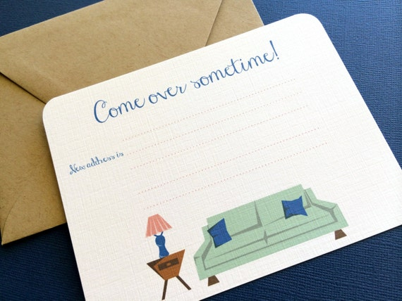 Come Over Sometime- Moving announcements set of 8, blank