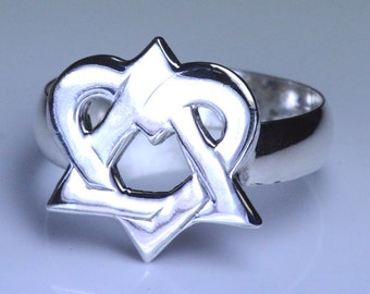 Sterling Silver Adoption Symbol Ring (triangle of love large version)