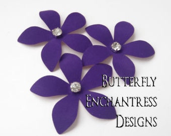 Purple Wedding Hair Piece, Bridal Hair Flowers, Woodland Hair Accessories - 3 Purple Weston Plumeria Bobby Hair Pins - Rhinestone Centers