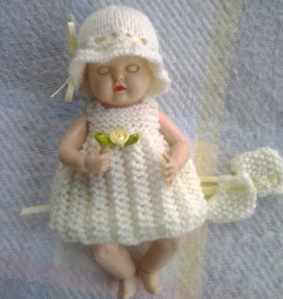 Knitted Dolls Clothes 6 inch to 7 inch Rosebud OOAK Reborn Doll - Ready to Dispatch