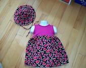 Handmade cotton knit bodice watermelon dress size 1 w/ hat fuscia Easter Spring