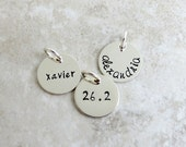 Personalized Charm - Add On Charm - Half Inch - Sterling Silver Disc - Half Inch - Name - Word - Number - Handstamped Personalized Jewelry