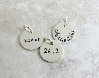 Personalized Add On Charm -  Hand Stamped Name Word Date Race Number  - Stering Silver - Half Inch
