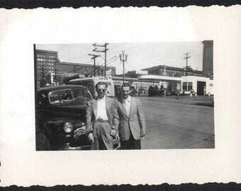 vintage photo JAck & Eddie in SEattle 1940s GAs STation