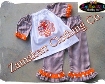 Girl Turkey Outfit Thanksgiving Toddler Infant Baby Clothing Dress Brown Orange Fall Pant Set 3 6 9 12 18 24 month size 2T 3T 4T 5T 6 7 8