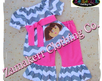 Custom Boutique Clothing Girl Dora The Explorer Birthday Outfit Set Chevron Pink Gift Party Pant Size 3 6 9 12 18 24 month 2T 3T 4T 5T 6 7 8