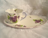 Reserved - Shelley Violets Teacup Snack Set Vintage Tea Cup
