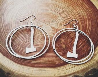 silver axe and hoop earrings - portland timbers oregon