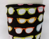 Coffee Cozy/Cup Sleeve Eco Friendly Slip-on, Teacher Appreciation, Co-Worker Gift, Bulk Discount:  Colorful Sparkling Sunglasses on Black