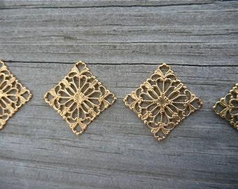 Four Raw Brass Filigree Squares