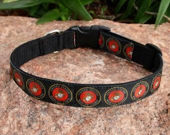 "1"" wide Adjustable Dog Collar - Military - US MARINE CORPS - Military Dog"