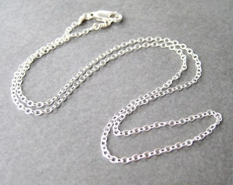 18 inch Sterling Silver Chain, .925 Sterling Silver Chain Necklace, Simple Necklace, Modern 1.9mm Flat Cable