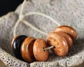 Handmade stoneware ceramic beads Pumpkin Spice (7)