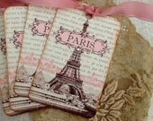 Paris Tags, SEPIA AND PINK - Vintage French Tags - Eiffel Tower Tags - Paris 1889 Exposition - Set of 4