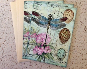Dragonfly Notecards - Nature Notecards -  Bird Egg, Flowers - Flat Notecards, Aqua,pink  flower - Set of 3