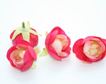 set of 4 Simple Romantic Fuchsia Ranunculus - 2 inches