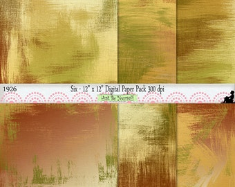 12 x 12 inch Grungy Green Rust and Gold Painted Background Papers Instant Download Set of 6 Digital Prints Commercial Use JPEG 1926