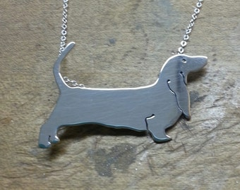 Bassett Hound Sterling Silver Necklace