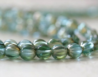 Aquamarine Celsian Czech Bead Glass 5mm Melon Rounds : 50 pc