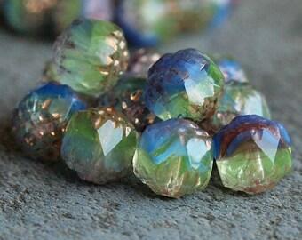 8mm Blue Iris Czech Glass Cathedral Bead : 10 pc 8mm Blue Iris Bead