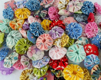 Fabric Flowers Wedding Shower 100 Birthday YoYo Bobby Pin Photo Prop Rosette Scrapbook Handmade Wholesale