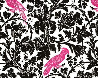 Pink and black barber fabric bird fabric black pink bird fabric barber remnant