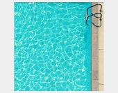 Swimming Pool: square fine art photograph print of Aqua water and silver ladder (bright, happy, summer wall art)