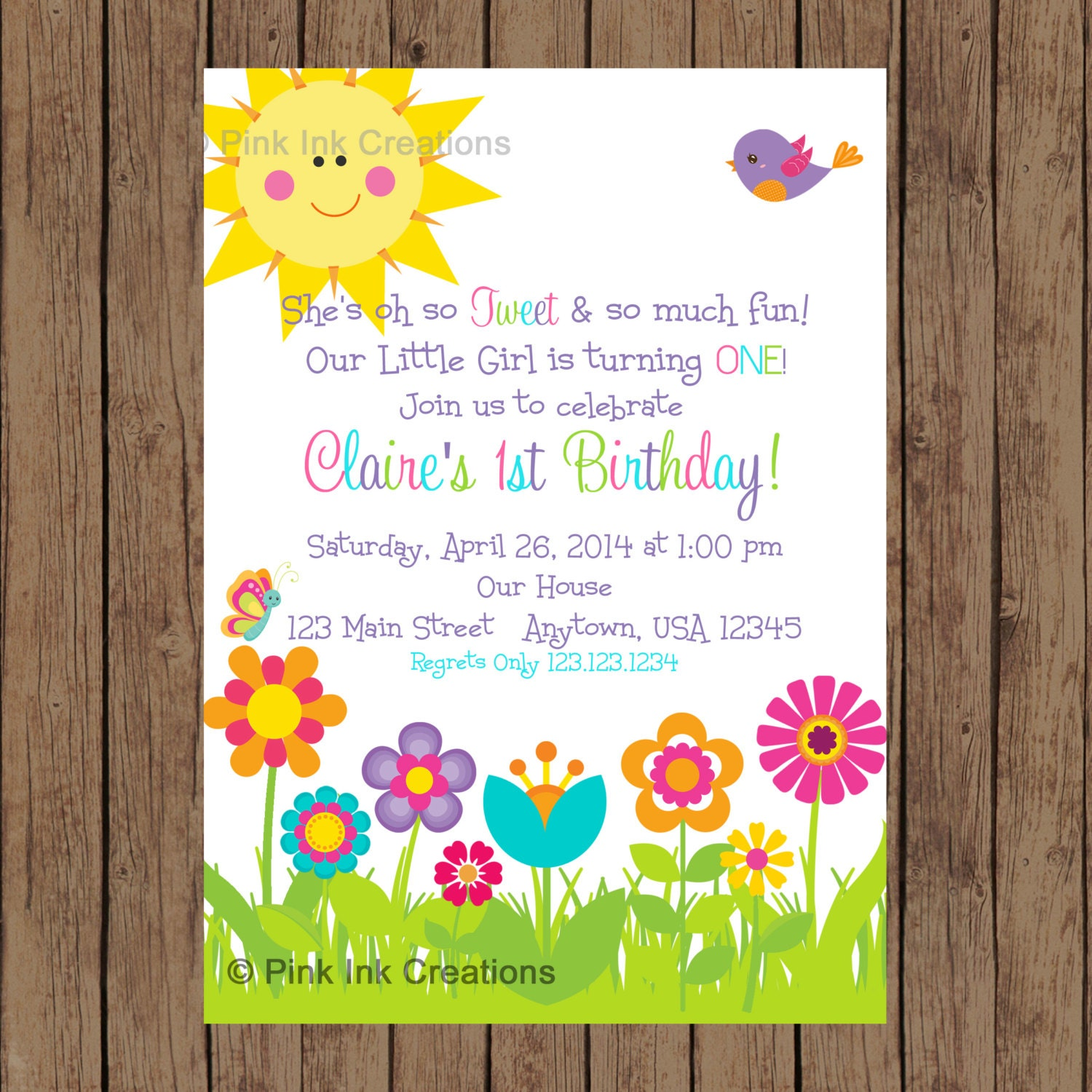 GARDEN Party Invitation Garden Birthday Invitation Spring