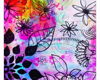 Flowers print Live Free flowers art print bird print art print sun floral garden painting tree flowers sunset