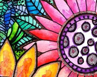 Flower art Fleurs  flowers art print  art print sun floral garden painting tree flowers sunset