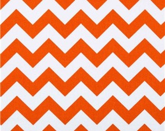 ORANGE CHEVRON YARDAGE , Fabric by the yard orange tangerine, with white zigzag chevron print cotton
