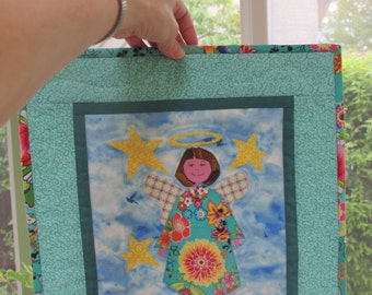 Angel Applique Small Art Quilt Wall Hanging, Turquoise, Beaded Necklace, Girl's Room