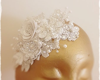 Winter White Rose and French Lace Bridal Headpiece