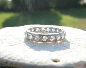 Diamond Eternity Ring, Beautiful Platinum Full Eternity Ring, Wedding Band, Super Sparkly, Lovely Details, approx .56 carats