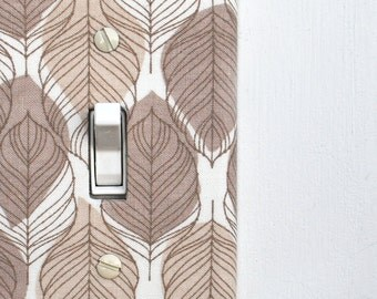 Light Switch Plate Cover - Brown and Tan Feathers / Leaves
