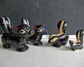 Skunks. Vintage Red Clay Pottery, Chalkware Figurines, Skunk Family, Black & White Glaze Miniature Animal Figurines, Alberta Canada Souvenir