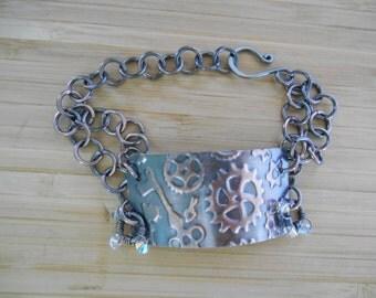 Wire Wrapped Jewelry Handmade Steampunk Embossed Wire Wrapped Copper Sheet Oxidized Copper Wire Wrapped Bracelet Crystal Ab Swarovski