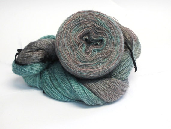 Lace Weight Yarn : Hand Dyed Lace Weight Yarn for Knitting, Crochet - Mountain Mist Blue ...