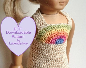 "PDF CROCHET PATTERN by Lavenderlore for 18"" Girl Dolls - Rainbow Bodice Crocheted Sundress - Permission to Sell Finished Item"