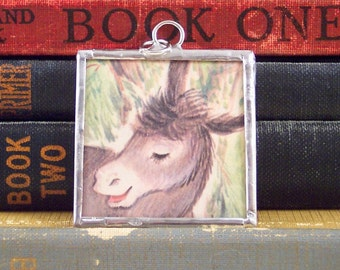 Donkey Pendant - Farm Animal - Vintage Book Jewelry - Gray Donkey Necklace - Donkey Charm - Soldered Charm - Altered Art Charm