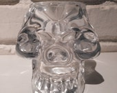 Crystal Glass Skull Candle Holder