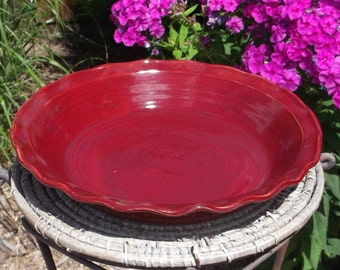 Pie or Serving Dish in Red with wavy rim - Handmade Pottery