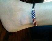 American Flag Bead Bracelet/Anklet