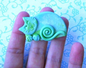 Polymer Clay Marbled Green Happy Sleeping Cat Brooch or Magnet