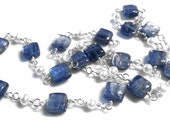 Kyanite and Freshwater Pearl Necklace, Sterling Silver