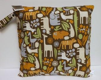 Large Wet Bag - Wet Bag - 17 X 17 - 2D Zoo Chocolate