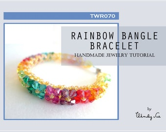 Rainbow Bangle Bracelet Tutorial TWR070